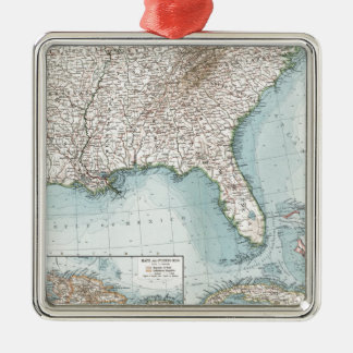 Vintage Southeastern US and Caribbean Map (1900) Silver-Colored Square Decoration