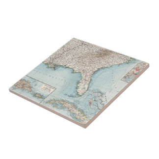 Vintage Southeastern US and Caribbean Map (1900) Small Square Tile