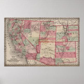 Vintage Southwestern United States Map (1869) Poster