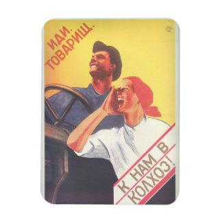 "Vintage Soviet Art ""Join Our Collective Farm"" Rectangular Photo Magnet"