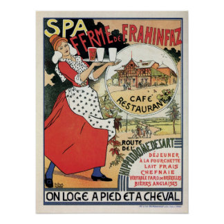 Vintage Spa Belgium Café restaurant ad Poster
