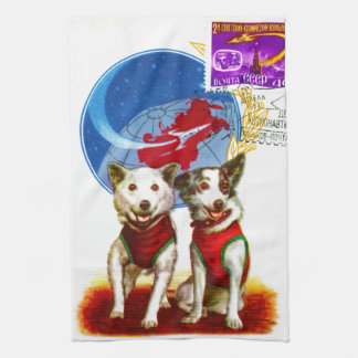 VINTAGE SPACE AGE DOG COSMONAUTS TEA TOWEL