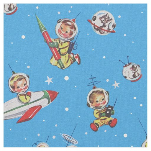 Vintage Space-Babies Collage Fabric