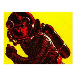 Vintage Spaceman Postcard