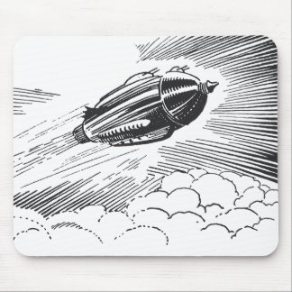 Vintage Spaceship Rocket Flying in the Clouds Mousepad