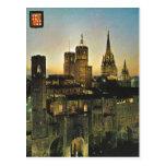 Vintage Spain, Barcelona  at sunset Postcard