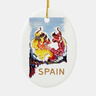 Vintage Spain Flamenco Dancers Travel Poster Christmas Ornament