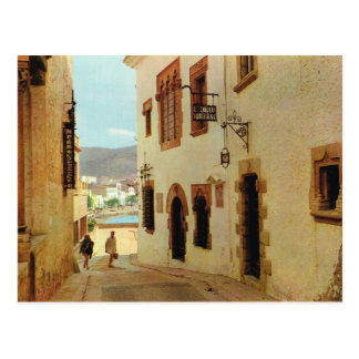 Vintage Spain,  Sitges, Houses in the old town Postcard