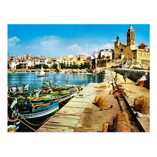 Vintage Spain, Sitges waterfront Postcards