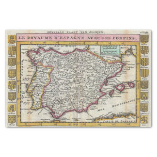 Vintage Spanish Kingdom Old World Map of Spain Tissue Paper