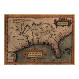 Vintage Spanish Map of Florida Discovery (1584) Poster