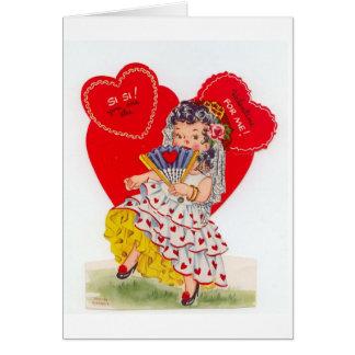 Vintage Spanish Senorita Valentine Card