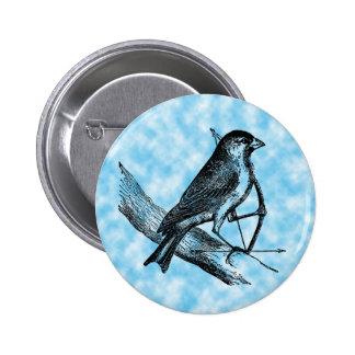 Vintage Sparrow Bird w/Bow & Arrow Old Archery 6 Cm Round Badge