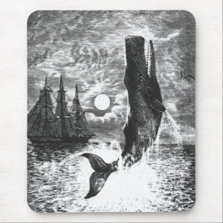 Vintage Sperm Whale Breaching, Marine Life Animals Mouse Pad