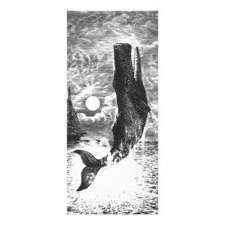 Vintage Sperm Whale Breaching, Marine Life Animals Rack Card