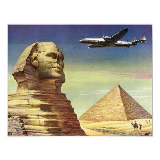 Vintage Sphinx Airplane Desert Pyramids Egypt Giza Card
