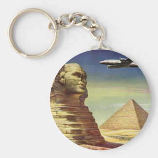 Vintage Sphinx Airplane Desert Pyramids Egypt Giza Key Ring