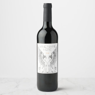 Vintage Sphinx illustration Wine Label