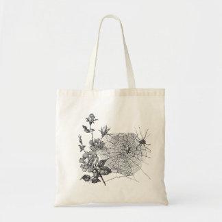 Vintage Spider web and flowers Tote Bag