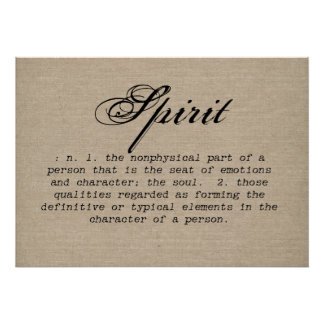 Vintage spirit definition rustic inspirational bur poster