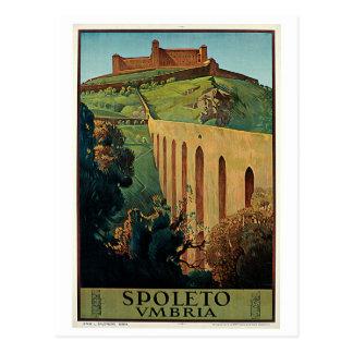 Vintage Spoleto Umbria 1920s Italian travel ad Post Card
