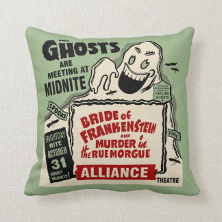 Vintage Spook Show Poster Art - Ghosts at Midnight Throw Pillows