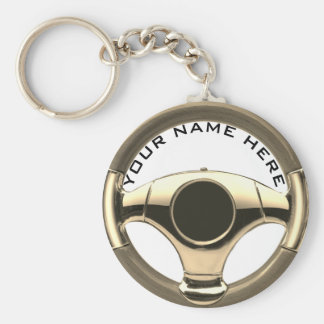 vintage sport car steering wheel garage key ring 2 basic round button key ring