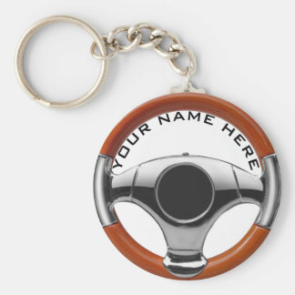 vintage sport car wood steering wheel garage owner basic round button key ring