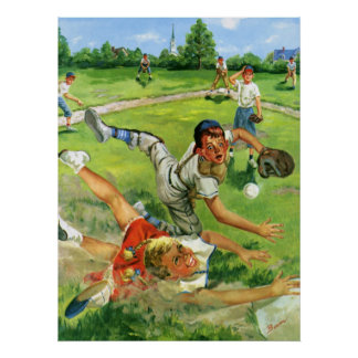 Vintage Sports Baseball, Children Teams Playing Poster