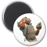 Vintage Sports Baseball, Confused Catcher Look Up 6 Cm Round Magnet
