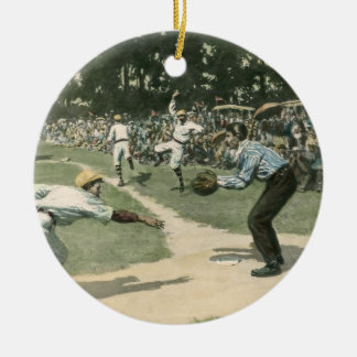 Vintage Sports, Baseball Game Round Ceramic Decoration