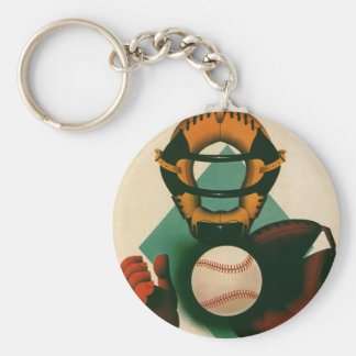 Vintage Sports Baseball Player, Catcher with Mitt Basic Round Button Key Ring