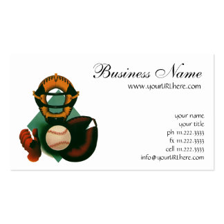 Vintage Sports, Baseball Player, Catcher with Mitt Business Card Template