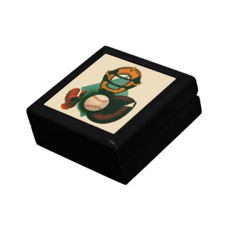 Vintage Sports, Baseball Player, Catcher with Mitt Small Square Gift Box