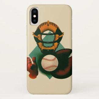 Vintage Sports, Baseball Player, Catcher with Mitt iPhone X Case
