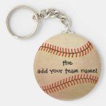 Vintage Sports, Baseball Player, Catcher with Mitt Basic Round Button Key Ring