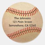 Vintage Sports, Baseball Player, Catcher with Mitt Round Sticker