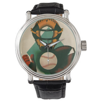 Vintage Sports Baseball Player, Catcher with Mitt Watch