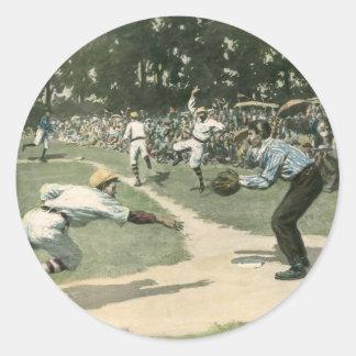 Vintage Sports, Baseball Player Sliding into Home Classic Round Sticker