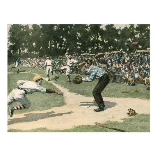 Vintage Sports, Baseball Player Sliding into Home Postcard