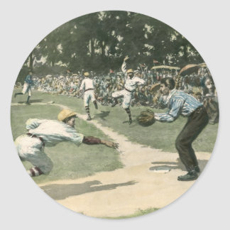 Vintage Sports, Baseball Player Sliding into Home Round Sticker