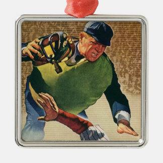 Vintage Sports Baseball Player, the Umpire Silver-Colored Square Decoration