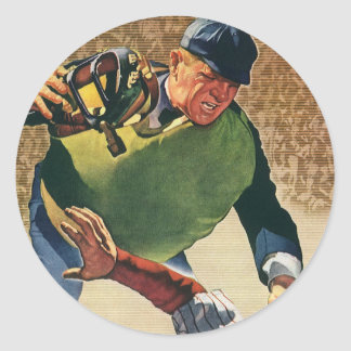 Vintage Sports Baseball Player, Umpire Classic Round Sticker