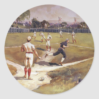 Vintage Sports Baseball Players by Henry Sandham Round Stickers