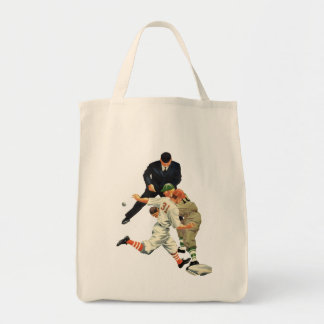 Vintage Sports Baseball Players Safe at Home Plate Grocery Tote Bag