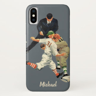 Vintage Sports Baseball Players Safe at Home Plate iPhone X Case