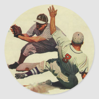 Vintage Sports Baseball Players Sliding into Home Stickers