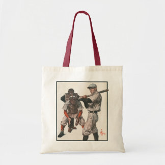 Vintage Sports Baseball Players with Umpire Budget Tote Bag