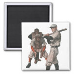 Vintage Sports Baseball Players with Umpire Square Magnet