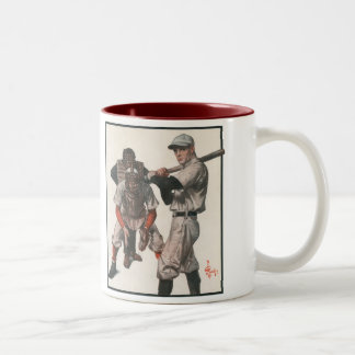 Vintage Sports Baseball Players with Umpire Two-Tone Coffee Mug